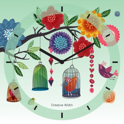 Birds with Flower Wall Clock
