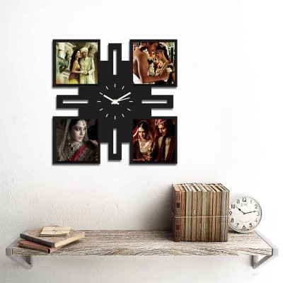 Personalized/Customized 4 Pic Wall Clock Style 1-Small-Black
