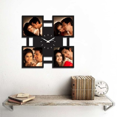Personalized/Customized 4 Pic Wall Clock Style 2-Small-Black