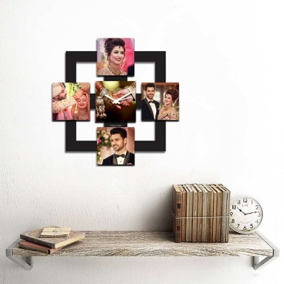 Personalized/Customized 5 Pic Square Pic Wall Clock-Small-Black