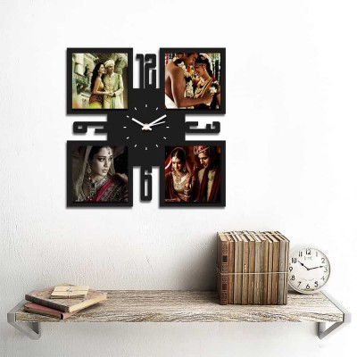 Personalized/Customized 4 Pic Wall Clock Style 3-Small-Black