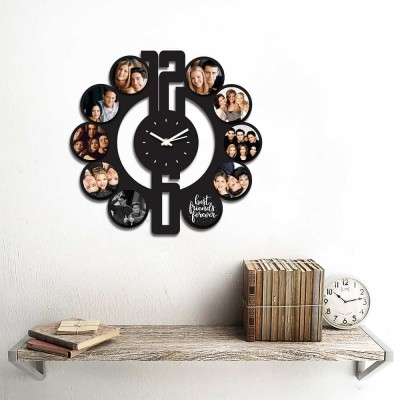 Personalized/Customized 10 Pic Circular Shape Wall Clock Style 1-Small-Black
