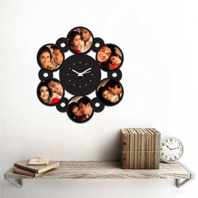 Personalized/Customized 6 Circle Pic Wall Clock-Small-Black