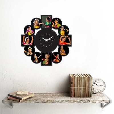 Personalized/Customized 12 Pic Wall Clock-Small-Black