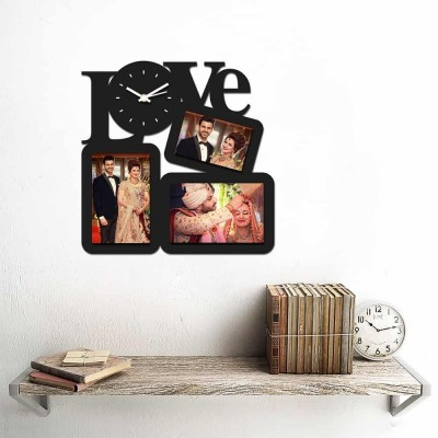 Personalized/Customized 3 Pic Love Wall Clock-Small-Black