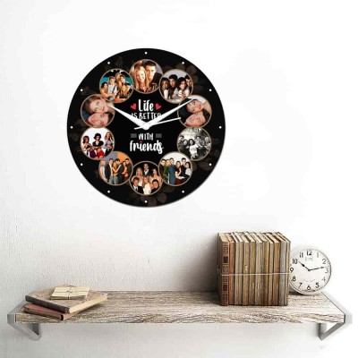 10 Pic and text Personalized Circular Shape Wall Clock-Small-Multicolour