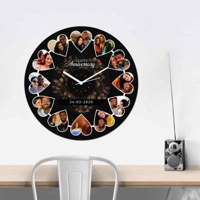 12 Pic and text Personalized Circular Shape Wall Clock-Medium