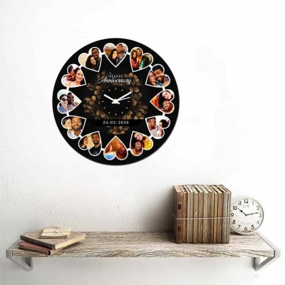 12 Pic and text Personalized Circular Shape Wall Clock-Small