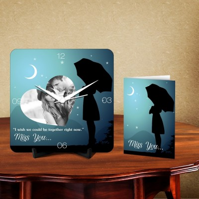 Personalized Miss You Desk Clock-With Card