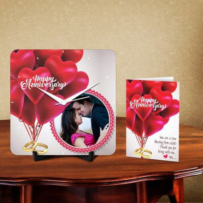 Personalized Happy Anniversary Love Desk Clock-With Card