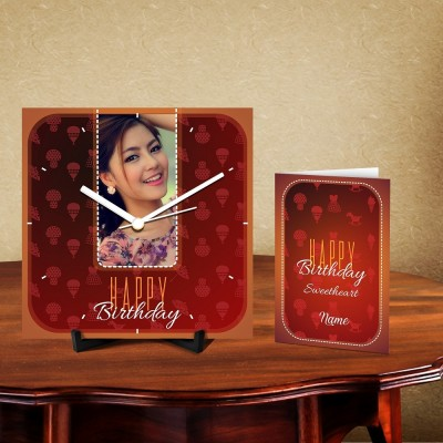 Personalized Happy Birthday 2 Desk Clock-With Card