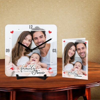 Personalized Family Together Forever Desk Clock-With Card