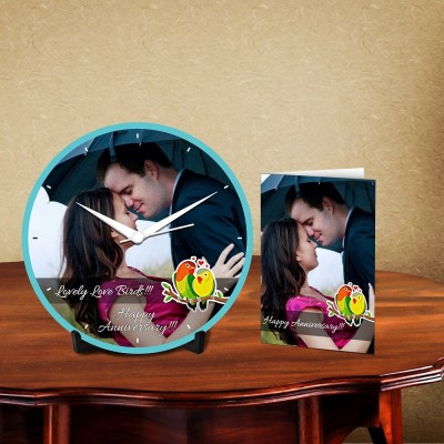 Personalized Lovely Love Birds Desk Clock-With Card