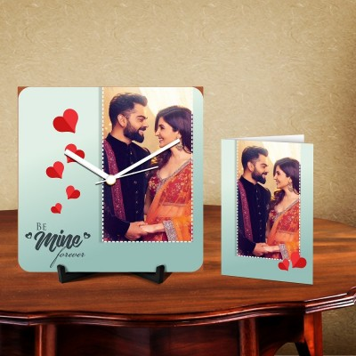 Personalized Be Mine Forever Desk Clock-With Card