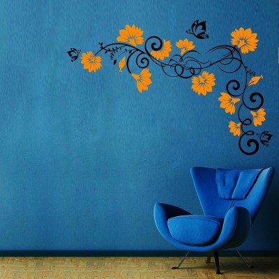 Vines And Flowers 1 Wall Sticker Decal-Large-Black & Yellow