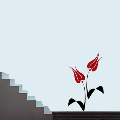 Abstract Flowers 1 Wall Sticker Decal-Small-Black & Red
