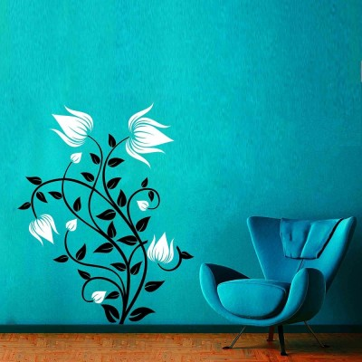 Abstract Flowers 2 Wall Sticker Decal-Small-Black & White