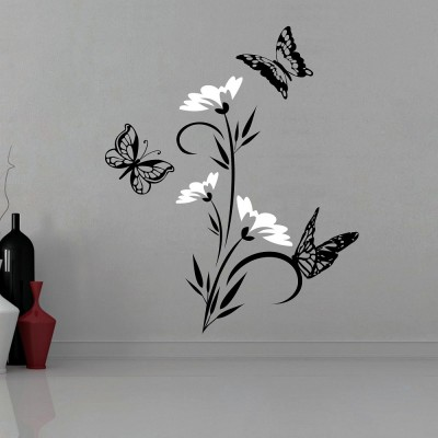 Abstract Flowers With Butterflies Wall Sticker Decal-Small-Black & White