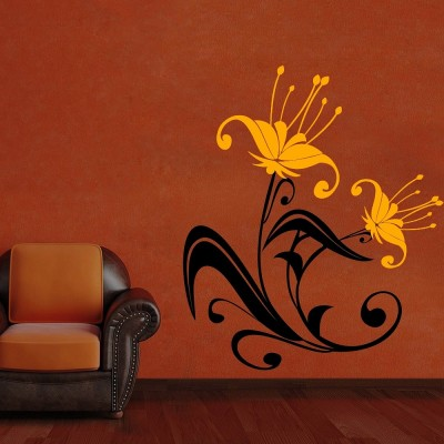 Abstract Flowers 3 Wall Sticker Decal-Small-Black & Yellow