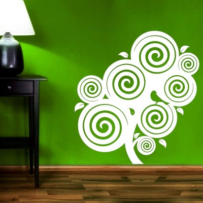Bird On Swirl Tree Wall Sticker Decal-Small-White