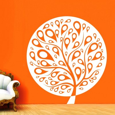 Ethnic Tree 1 Wall Sticker Decal-Small-White