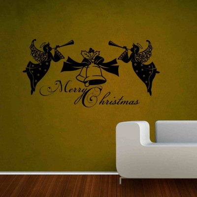 Angels Wishing Christmas Wall Sticker Decal-Small-Black