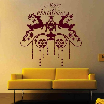 Christmas Reindeers Wall Sticker Decal-Small-Burgundy