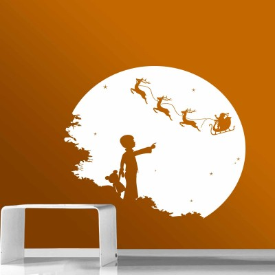 Christmas Night Wall Sticker Decal-Small-White