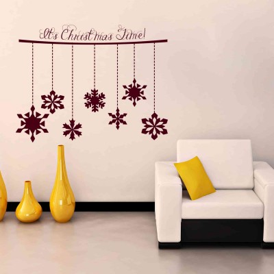 Christmas Time Wall Sticker Decal-Small-Burgundy
