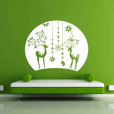 Christmas Eve And Reindeers Wall Sticker Decal-Small-White