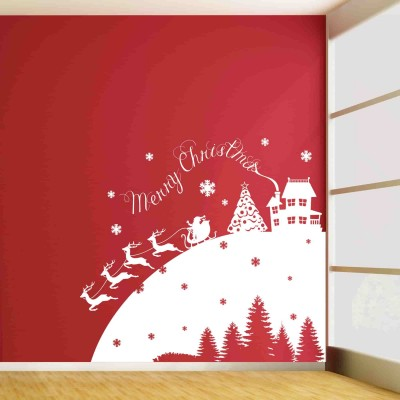 Christmas With Santa Wall Sticker Decal-Small-White