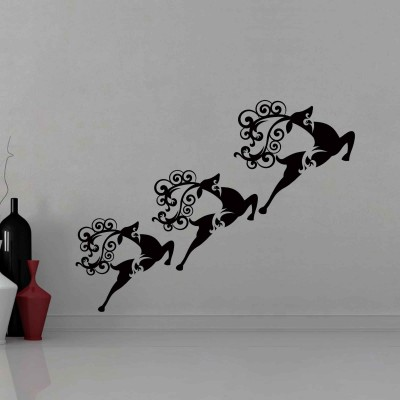 Christmas Reindeers 2 Wall Sticker Decal-Small-Black