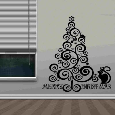 Celebrating Christmas Wall Sticker Decal-Small-Black
