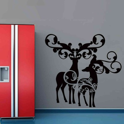 Beautiful Christmas Reindeers Wall Sticker Decal-Small-Black