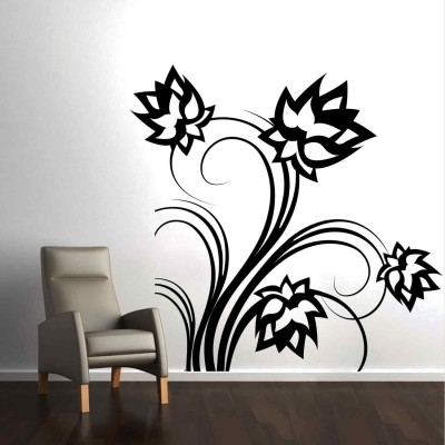 Lotus Flowers Wall Sticker Decal-Small-Black