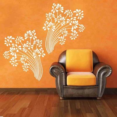 Beautiful Flowers Wall Sticker Decal-Small-White
