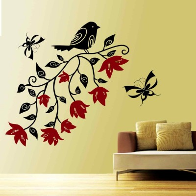 Bird With Flowers Wall Sticker Decal-Small