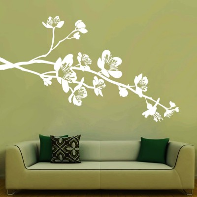 Flowers On Branch Wall Sticker Decal-Small-White