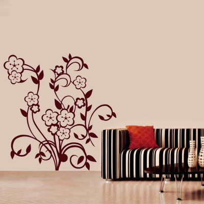 Lovely Flowers Wall Sticker Decal-Small-Burgundy