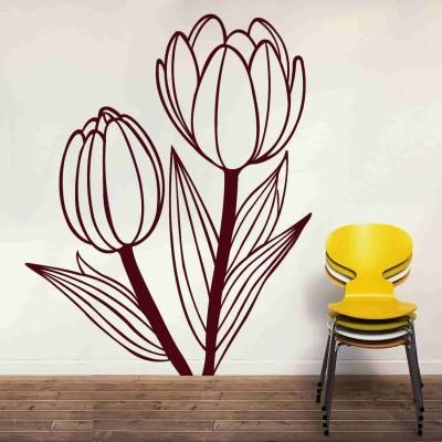 Beautiful Tulips Wall Sticker Decal-Small-Burgundy