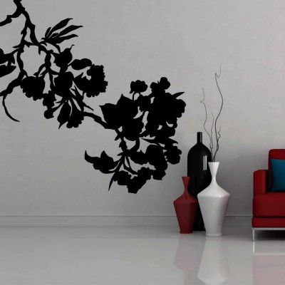 Flower Silhouette Wall Sticker Decal-Small-Black
