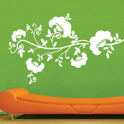 Cotton Flowers Wall Sticker Decal-Small-White