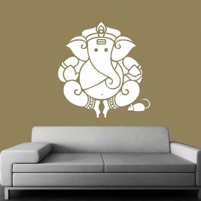 Ganesha Wall Sticker Decal-Small-White