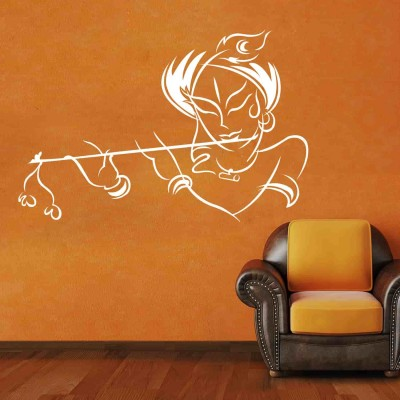 Krishna Wall Sticker Decal-Small-White