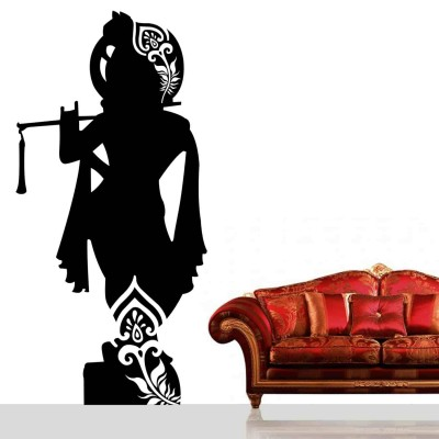 Lord Krishna Wall Sticker Decal-Small-Black