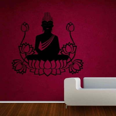 Buddha On Lotus Wall Sticker Decal-Small-Black