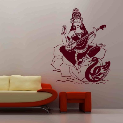 Maa Saraswati Wall Sticker Decal-Small-Burgundy