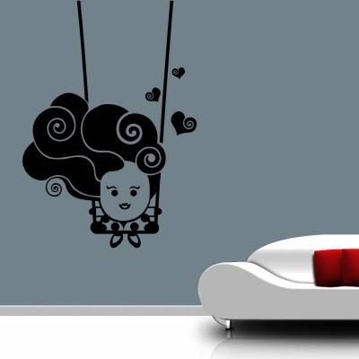 Cute Baby On Swing Wall Sticker Decal-Small-Black