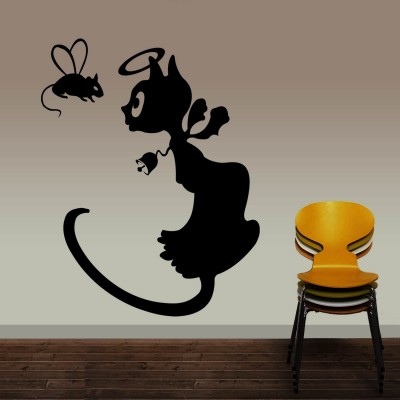 Angel Cat Wall Sticker Decal-Small-Black