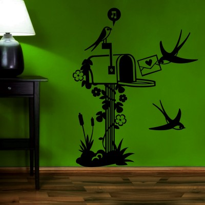 Bird Mailbox Wall Sticker Decal-Small-Black